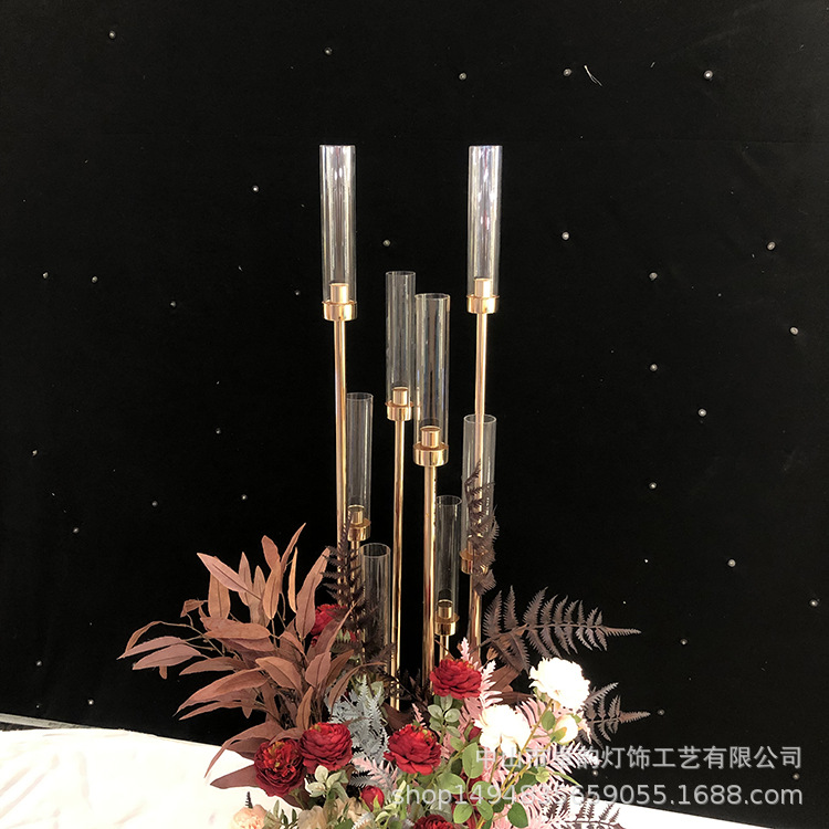 wedding : 10PCS Metal Candlesticks Flower Vases Candle Holders Wedding Table Centerpieces Candelabra Pillar Stands Party Decor Road Lead