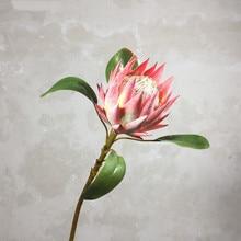 สไตล์ Pastoral 1 ชิ้นดอกไม้ปลอมสวยงาม King Protea ประดิษฐ์ Handmade ดอกไม้จอแสดงผลบ้านตกแต่งดอกไม้ผ้าไหม