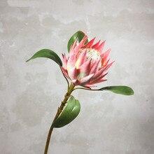 Pastoral tarzı 1 adet sahte çiçek güzel kral Protea el yapımı yapay çiçekler ekran ev dekoratif ipek çiçekler