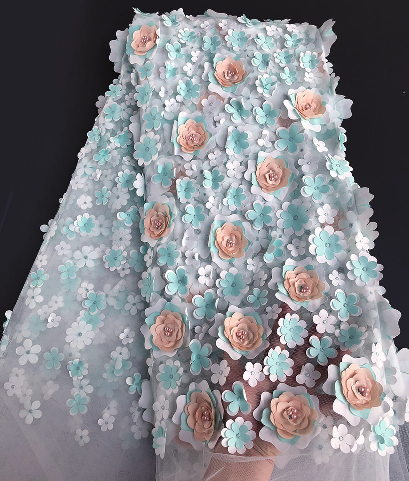aqua gold Allover 3D floral Appliques french lace lovely African beaded tulle lace fabric 5 yards