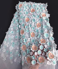 Aqua oro Allover 3D floreale Appliques francese del merletto bella Africano in rilievo di tulle tessuto di pizzo 5 yards di alta qualità di vendita calda(China)