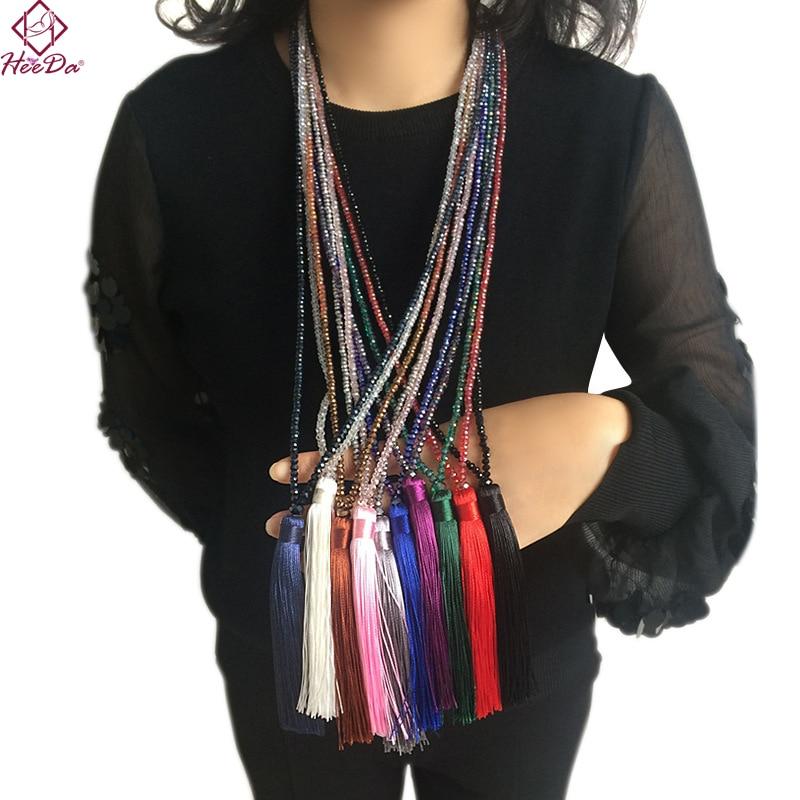 Heeda 2018 Autumn Winter New Crystal Beads Tassel Long Necklace Kpop Fashion Graceful Joker Ethnic Sweater Chain Lady Jewelry