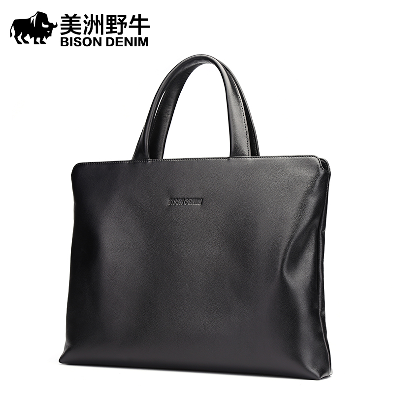 2018 BISON DENIM Brand Handbag Men Briefcase Genuine Leather Shoulder Bags Business Travel Cowhide Tote Bag Men's Messenger Bag brand bison denim handbag men genuine leather shoulder bags business travel cowhide crossbody bag tote bag men s messenger bag