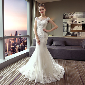 Image 2 - Fansmile New Arrival Vestido De Noiva Lace Mermaid Wedding Dress 2020 Customized Plus Size Wedding Gowns Bridal Dress FSM 484M