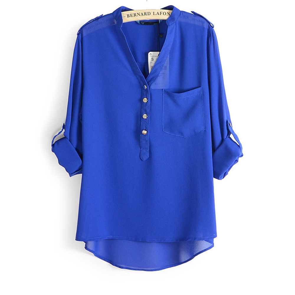 797d51a5fae0e2 Loose Solid Thin Blusas Chiffon Women's Blouse White Black Blue Female Chiffon  Blouse V neck Transparent Shirt Kimono Tops Femme-in Blouses & Shirts from  ...