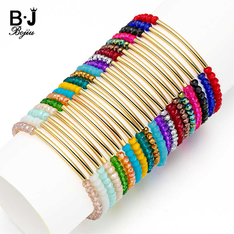 BOJIU 20 Colors Faceted Crystal Gem Stone Beads Bracelet For Women Jewelry Stretchy Cristal Bracelet Femme Bijoux Jewelry BC192