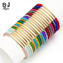 BOJIU 20 Colors Faceted Crystal Gem Stone Beads Bracelet For Women Jewelry Stretchy Cristal Femme Bijoux BC192