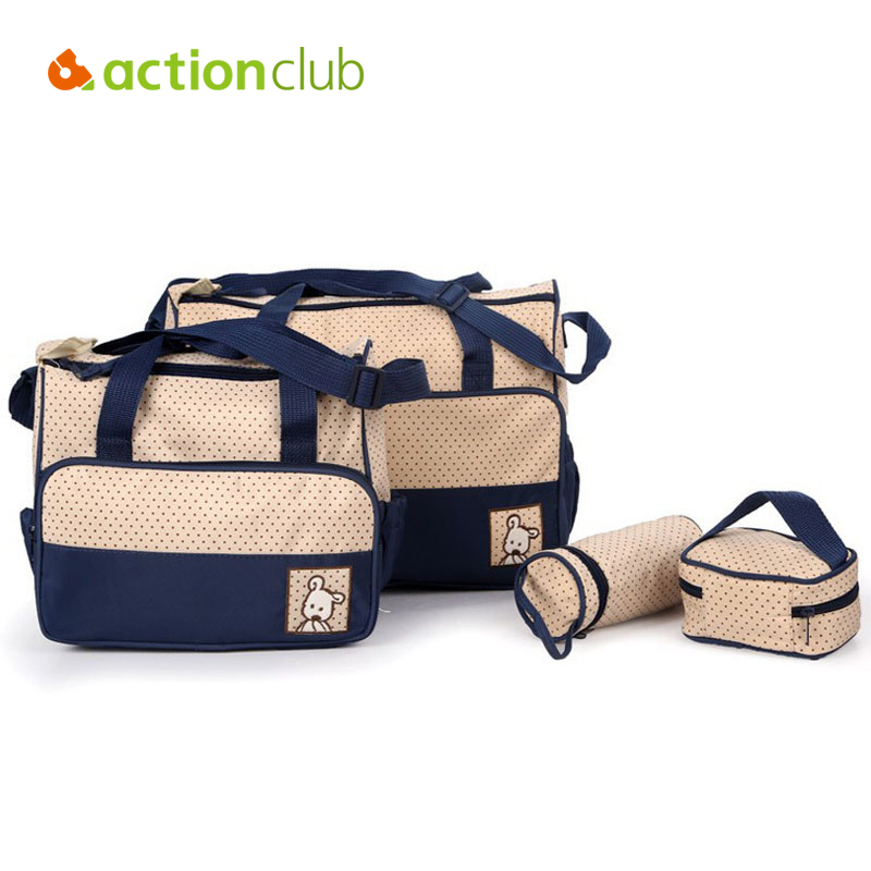 Actionclub 5PCS Mother Bag Infant Diaper Bags Durable Tote Baby Nappy changing Bag Maternity Women Bag