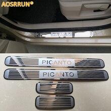 Aosrrun автомобильные аксессуары Нержавеющаясталь боковой двери Накладка порога отделка для Kia Picanto 2012-2016