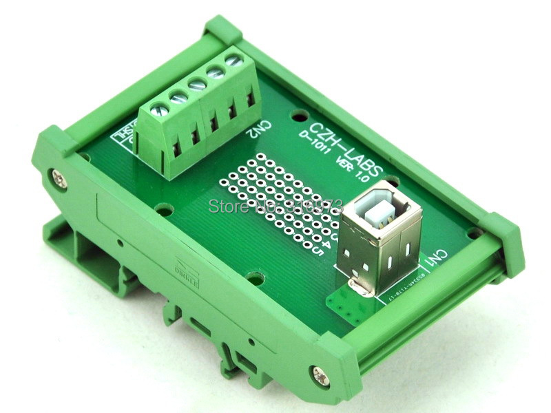 DIN Rail Mount USB Type B Female Vertical Jack Module Board.