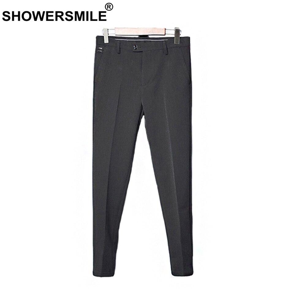 SHOWERSMILE Mens Dress Pants Formal Business Spring Grey Men Suit Pants With Side Pockets Slim Fit Trousers Men British Fashion blue fashion two side pockets sport trousers