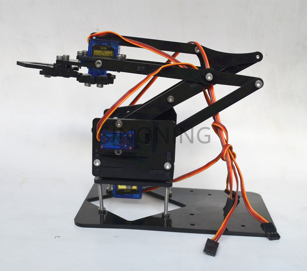 Acrylic Mechanics Handle Robot 4 DOF arm arduino Created Learning Kit SG90 white keyes kt0054 learning board tool kit for arduino nano white multicolored