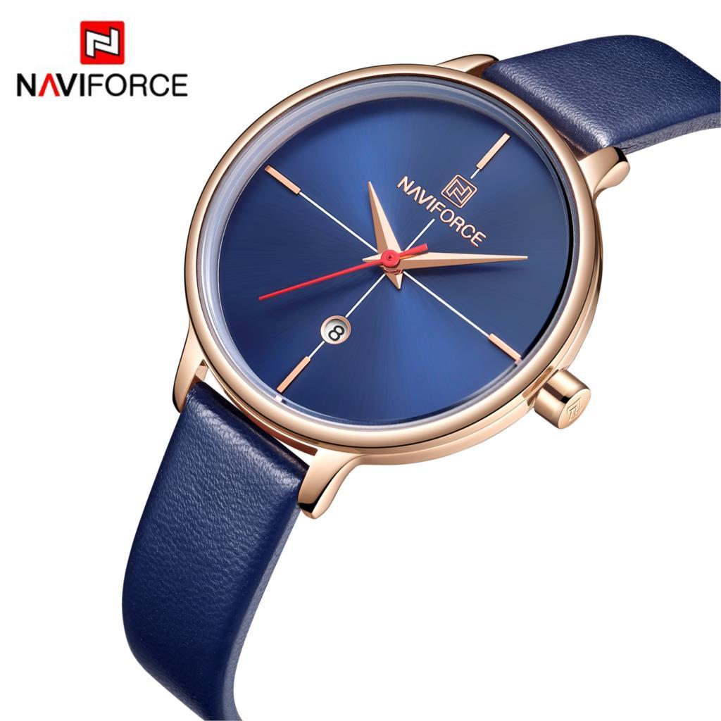 NAVIFORCE Mulheres Relógio de Quartzo Moda Senhora Azul PU Pulseira Data Casual 3ATM Mulher À Prova D' Água Relógio de Pulso Presente para Menina Mulher 2019