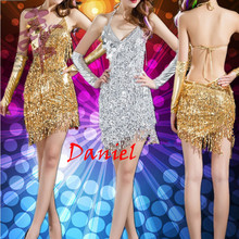 latin salsa dresses gold and silver sequins dress for dancing free shipping latin dance dress women