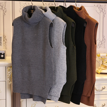 2016 spring turtleneck medium-long casual loose pullover sweater vest female b181