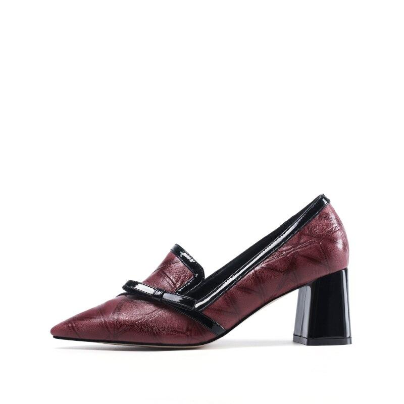 Bout Automne Carré Haute Décontracté Dames Femmes Slip Red Chaussures Pointu Talons Pompes H141 Et Mode Univers De noeud sur Papillon Printemps vwZqYYP