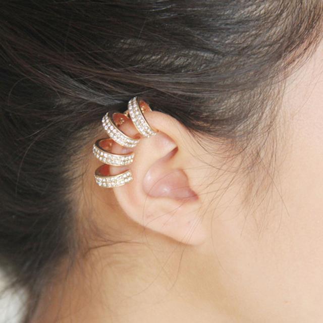 Venda quente Simples Multa Loops Brilhante Ear Cuff Clipe de ouvido Brincos Sem Perfuração Da Orelha; vendido por Peça; para As Mulheres Por Atacado