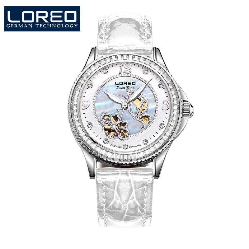 LOREO Austria Diamond Butterfly skeleton automatic mechanical Pearl dial Austria diamond sapphire white elegante women watch matisse lady austria full crystal dial