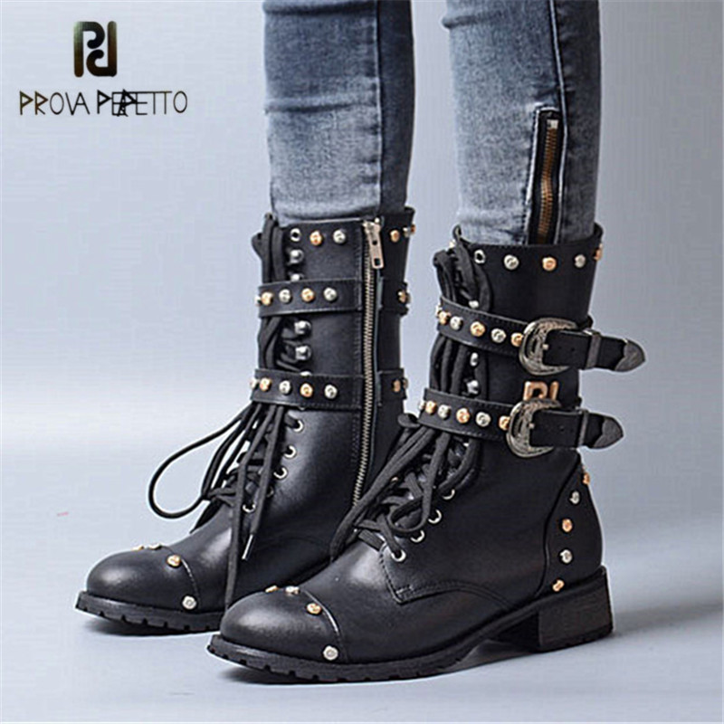 Prova Perfetto Punk Style Women Gladiator Boots Handsome Rivets Buckle Strap Martin Boots Genuine Leather Lace Up Flat Botas prova perfetto yellow women mid calf boots fashion rivets studded riding boots lace up flat shoes woman platform botas militares