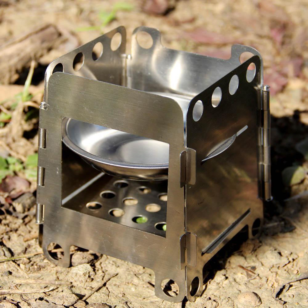 ФОТО 5pcs( Stainless Steel Wood Pocket Alcohol Stove Cooking Backpacking Lightweight