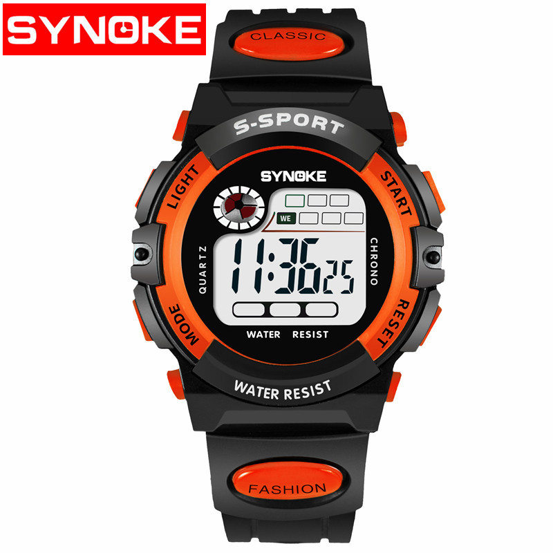 Kids Watches Sport Timer Alarm Chrono Digital Wristwatches 30M Waterproof Boy Girl Children Watch Black