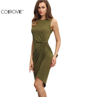 COLROVE Female Army Green Sleeveless Knot Sheath Dress Asymmetrical Round Neck Sleeveless Wrap Knee Length Dress