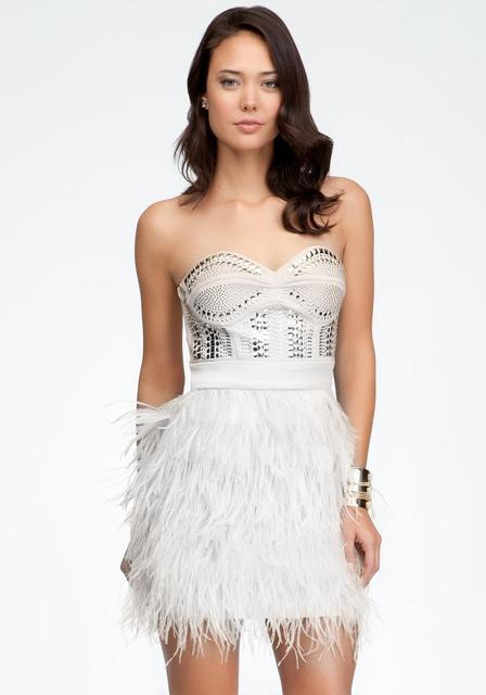 White Studded Strapless Dress