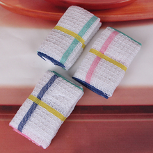 3pcs QF024 100% cotton Restaurant kitchen washroom Colorful  super-absorbent jacquard waffle towel cleaning cloth35x35