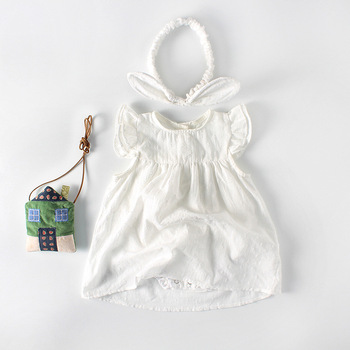Summer girls baby hundred days cut flower cotton triangle newborn baby infant girl clothes Romper Jumpsuit Body suit day dress
