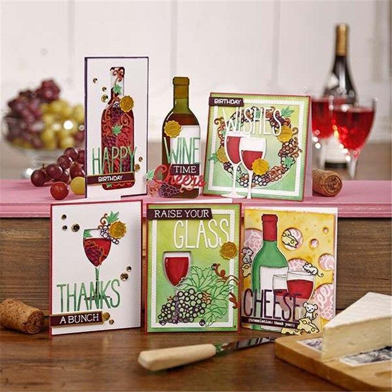 YaMinSanNiO Wine Bottle Drink Cup Metal Cutting Dies Cutting Scrapbooking Embossing Folder Stencil DIY Photo Album Decor Craft in Cutting Dies from Home Garden