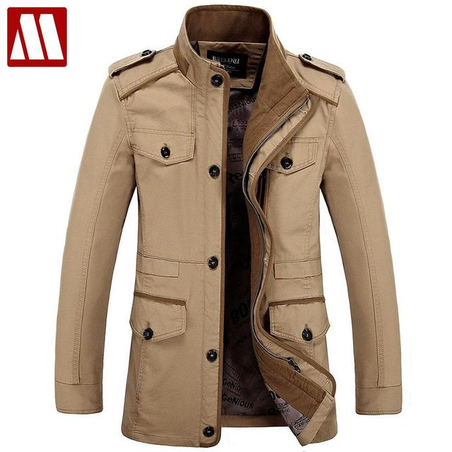 Plus size S-6XL 2018 New Arrival Men s Fashion Jackets Casual Spring Autumn  Jacket Cotton Stand Collar Military Coat 3 Colors 0746595e35b2
