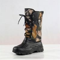 Ciepłe Zimowe Wodoodporne buty Rybackie Buty Dla Mężczyzn Drzewo Kamuflaż Armii buty Ciepłe Futro Mężczyźni Śnieg Narciarstwo Buty Plus Size 41-46