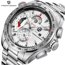 PAGANI DESIGN Chronograph Sport Watches Men Luxury Brand Quartz Watch Full Stainless Steel Dive 30M relogio masculino white