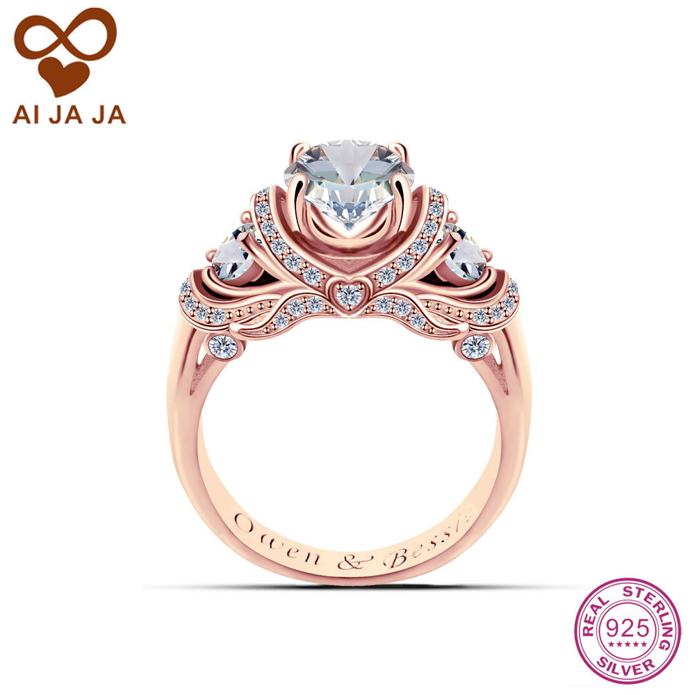 Aijaja 925 Sterling Silver Engraved Wedding Rings Customized Luxurious Cz Stones Paved 1 26 Carat Rose Gold Color In Bands From Jewelry