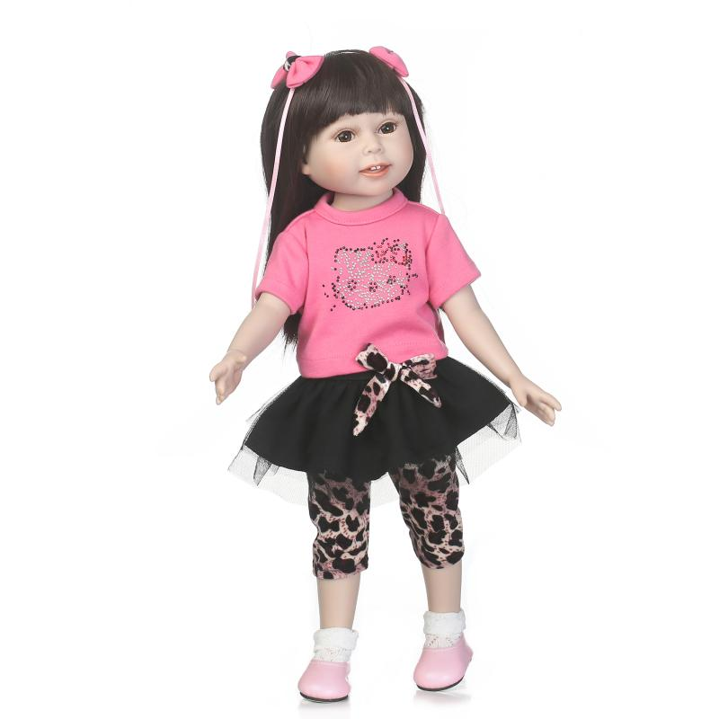 45cm 18 Inch Reborn Baby Dolls American Dolls Full Silicone Vinyl Long Hair Princess Bab ...