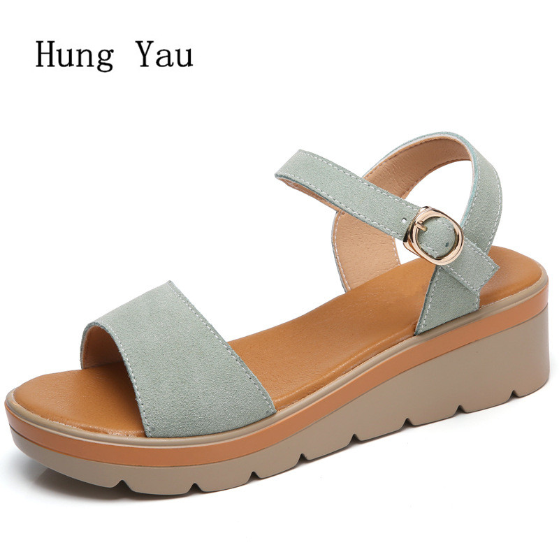 Women Sandals 2018 Summer Genuine Leather Shoes Woman Flip Flops Wedges Fashion Platform Female Slides Ladies Shoes Peep Toe wastyx new 2017 summer fashion cowboy women sandals casual women flip flops shoes wedges shoes woman