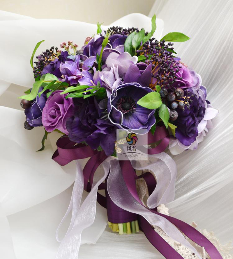 Future Wedding Store High Quality Wedding Bridal Bridesmaid Bouquet Handmade Brand Bride Bouquets Purple Artificial Flowers Holding Flower Home Decor