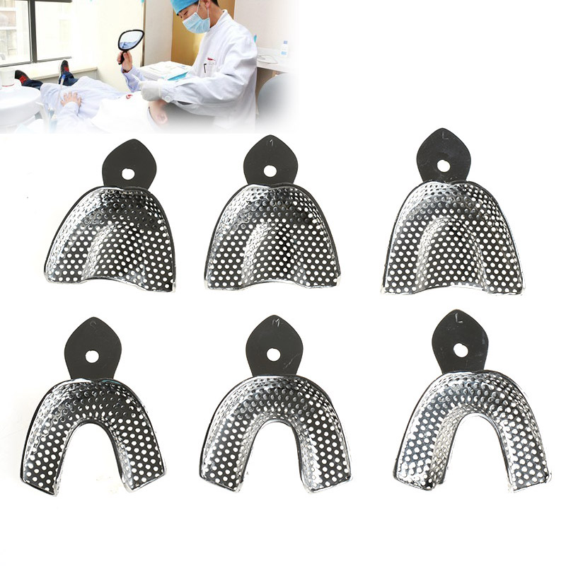 6pcs/Set Dental Impression Stainless Steel Autoclavable Denture Instrument Teeth Tray Oral Hygiene Tooth Tray Dental Lab Tools 1 set dental lab equipment l m s size upper lower stainless steel impression trays for dental lab free shipping