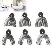 6pcs/Set Dental Impression Stainless Steel Autoclavable Denture Instrument Teeth Tray Oral Hygiene Tooth Tray Dental Lab Tools