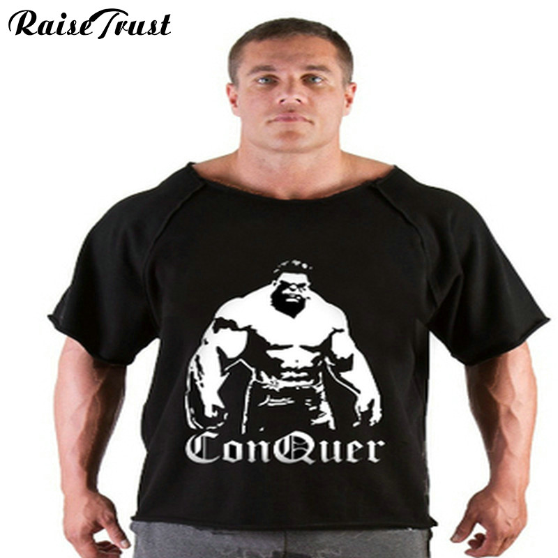 fitness heren T-shirt 2019 Zomer fitness heren Print bodybuilding wear shirt Merkvest Plus size Rag tops T-shirt