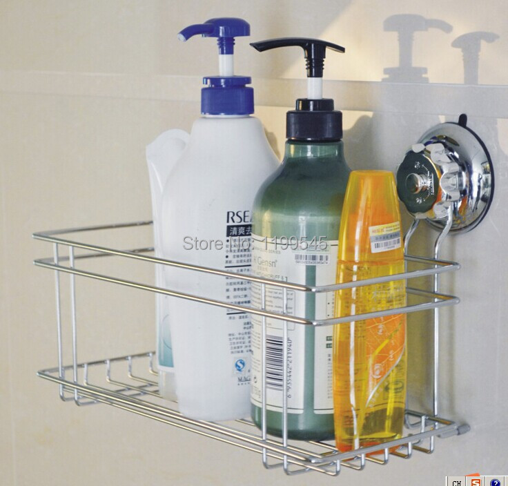 super suction cup 304 stainless steel Bathroom caddy shower basket ...