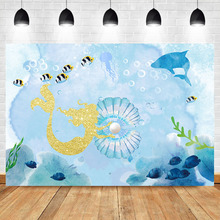Shiny Gold Mermaid Background Shell Pearl Whale Blue Ocean photography backdrops