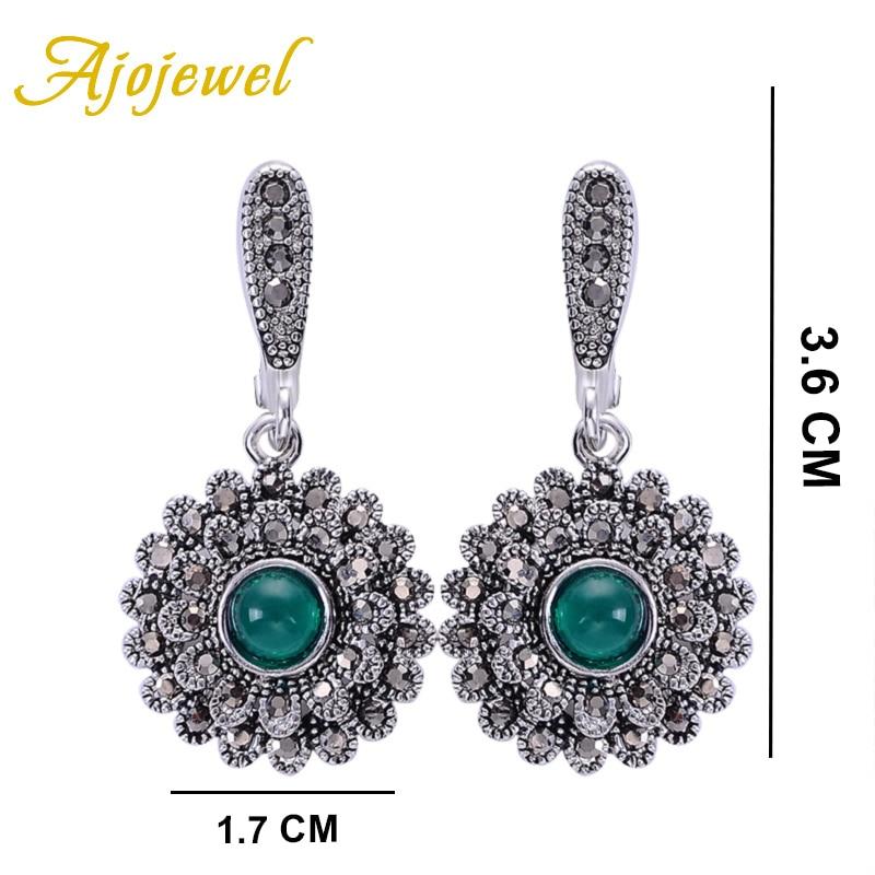 Ajojewel kristalno zelene naušnice za žene crna vještački - Modni nakit - Foto 5