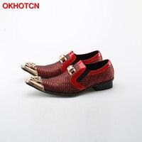 OKHOTCN Mężczyźni Metalowe Spiczaste buty Toe Luksusowe Buty Ślubne Kryształ Rhinestone Strona Konferencyjne Buty Obuwie Męskie Mokasyny Homme