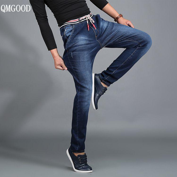 QMGOOD High Quality Men Fashion Jeans 2017 Autumn Paragraph Casual Male Denim Elastic Drawstring Denim Capris Big Size XL-5XL lole капри lsw1349 lively capris xs blue corn