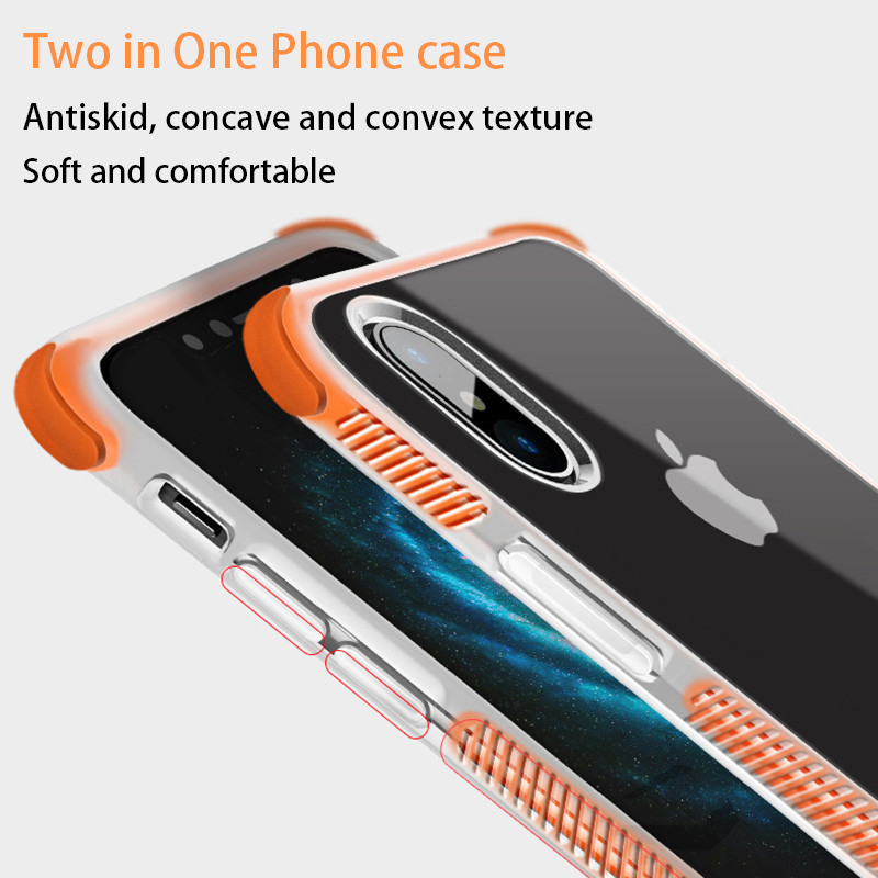 Phone Case For iPhone 7 8 plus X 6 6S Plus TPU+TPE Combination Protection Back Cover Thick Corner Design Silicone Soft Cases
