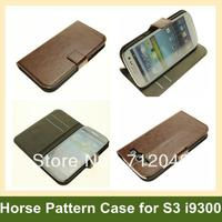 Cool Crazy Horse Pattern Wallet Case For Galaxy I9300 Leather Flip Cover Case For Samsung Galaxy