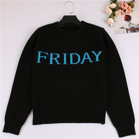 One Week Letters Fashion Women Sweater Black Knitting Pullover Sunday Monday Tuesday Wendnesday Thursday Friday Saturday