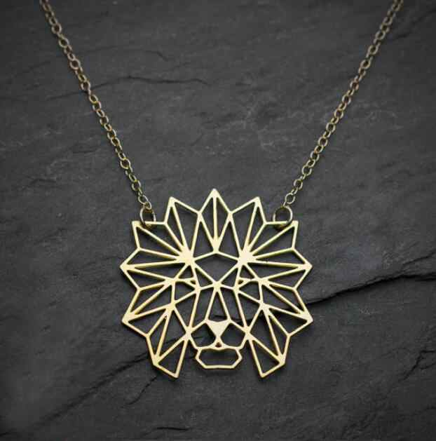 Hfarich Origami Lion Necklace Lion Head Pendant Necklace Geometric Animal Jewelry Necklace Party Accessories steampunk DROPSHIP