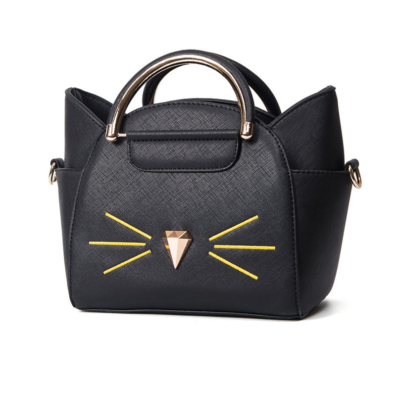 New Women Handbag Fashion Cat Costume Shopper Bag Mini Purse Blue Black Pu Leather Handbag